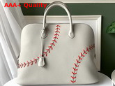 Hermes Bolide 1923 45 Basebal Bag Gris Perle Rouge Casaque Hand Stitching Replica