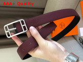Hermes Cape Cod 32 Reversible Belt in Box and Togo Calfskin Noir and Burgundy Replica