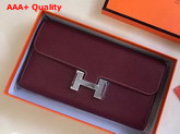 Hermes Constance Wallet Burgundy Togo Leather Replica