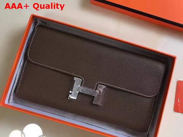 Hermes Constance Wallet Coffee Togo Leather Replica