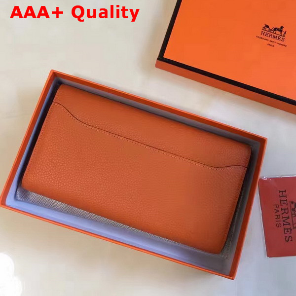 Hermes Constance Wallet Orange Togo Leather Replica