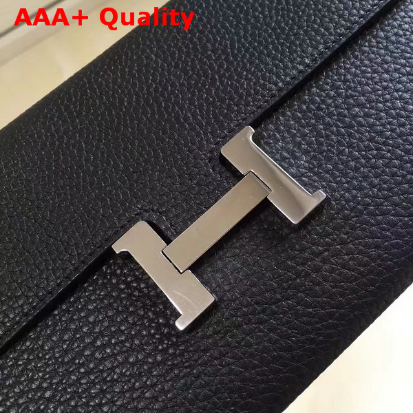 Hermes Constance Wallet in Black Togo Leather Replica