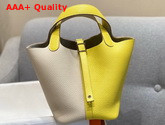 Hermes Dual Color Picotin Lock 18 Bag in Taurillon Clemence Leather Beige and Yellow Replica