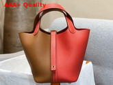 Hermes Dual Color Picotin Lock 18 Bag in Taurillon Clemence Leather Tan and Red Replica