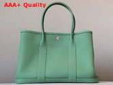 Hermes Garden Party 30 Bag in Green Taurillon Clemence Leather Replica