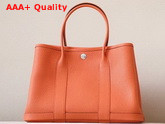 Hermes Garden Party 30 Bag in Orange Taurillon Clemence Leather Replica