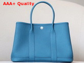 Hermes Garden Party 30 Bag in Sky Blue Taurillon Clemence Leather Replica