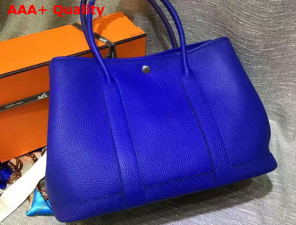 Hermes Garden Party Bag in Blue Togo Leather Replica