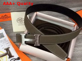 Hermes H Belt Buckle Reversible Leather Strap 38mm Togo Calfskin and Smooth Calfskin Grey and Black Replica