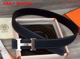 Hermes H Belt Buckle Reversible Leather Strap 38mm Togo Calfskin and Smooth Calfskin Navy and Black Replica