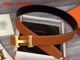 Hermes H Belt Buckle Reversible Leather Strap 38mm Togo Calfskin and Smooth Calfskin Orange and Black Replica