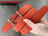 Hermes H D Ancre Belt Buckle Reversible Leather Strap 32 mm Noir Orange Replica