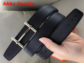 Hermes H D Ancre Belt Buckle Reversible Leather Strap 32 mm Noir Replica