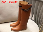 Hermes Jumping Boot Brown Box Calfskin with Kelly Strap Replica