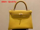 Hermes Kelly 25 in Yellow Togo Calfskin Replica