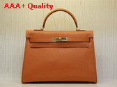 Hermes Kelly 32 Epson Leather Orange Replica Hermes Kelly 32 Epson
