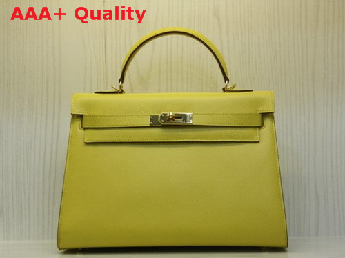 Hermes Kelly 32 Epson Leather Yellow Replica