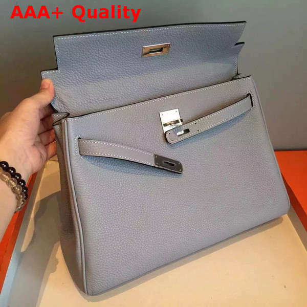 Hermes Kelly 32 in Light Blue Original Leather Replica
