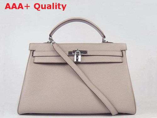 Hermes Fake Hermes Kelly 35 In Grey Real Leather with Silver Hardware Replica