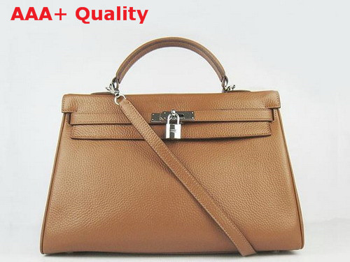 Hermes Kelly 35 Tan Leather Silver Hardware Replica