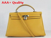 Hermes Kelly 35 in Yellow with Gold Replica