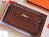Hermes Kelly Ghillies Wallet Swift Leather Brown Replica