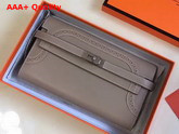 Hermes Kelly Ghillies Wallet Swift Leather Grey Replica