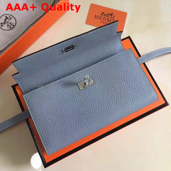 Hermes Kelly Wallet Light Blue Togo Leather Replica