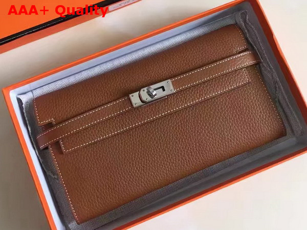 Hermes Kelly Wallet Tan Togo Leather Replica