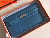 Hermes Kelly Wallet in Blue Togo Leather Replica