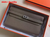 Hermes Kelly Wallet in Grey Togo Leather Replica