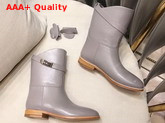 Hermes Leather Ankle Boot in Grey Calfskin with Kelly Buckle Replica