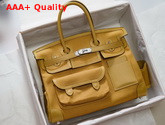 Hermes Limited Edition Cargo Birkin 35 cm Jaune Ambre Swift and Canvas Replica