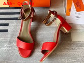 Hermes Manege Sandal Red and Tan Calfskin Replica