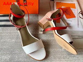 Hermes Manege Sandal White and Red Calfskin Replica
