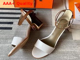 Hermes Manege Sandal White and Tan Calfskin Replica