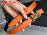 Hermes Mini Constance Belt Buckle Reversible Leather Strap 24mm in Epsom Calfskin Orange and Black Replica