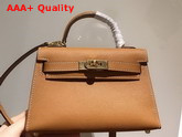 Hermes Mini Kelly 20cm Tan Epsom Calfskin Replica