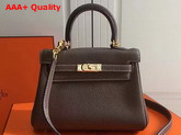Hermes Mini Kelly Coffee Togo Leather Replica