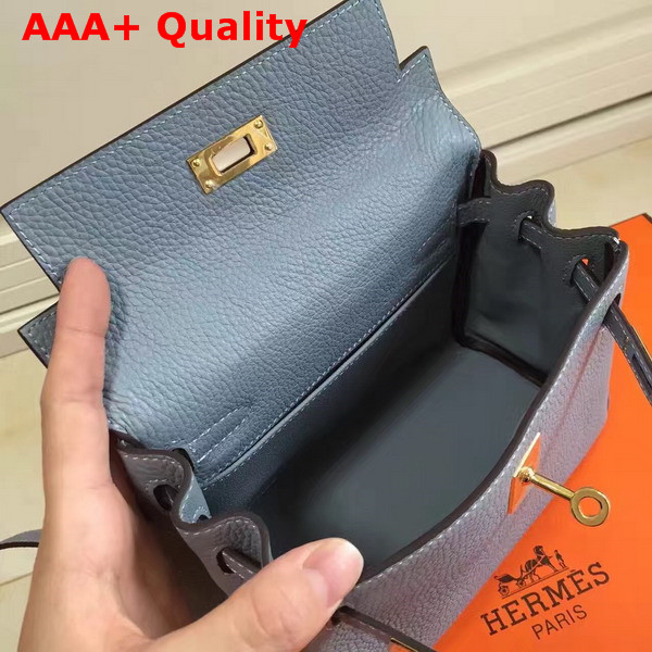 Hermes Mini Kelly Light Blue Togo Leather Replica