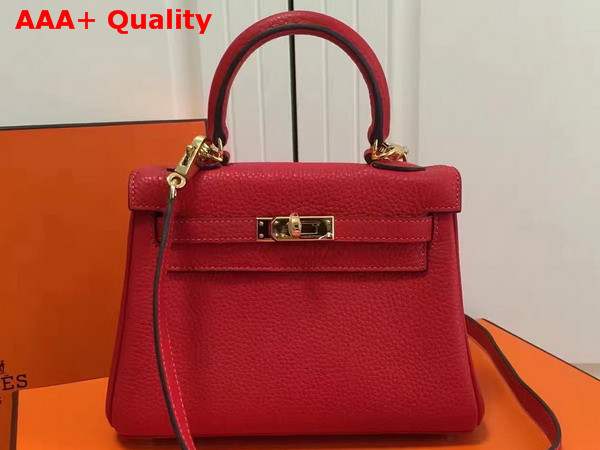 Hermes Mini Kelly Red Togo Leather Replica