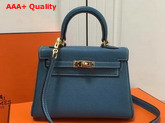Hermes Mini Kelly in Blue Togo Leather Replica