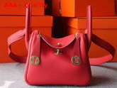 Hermes Mini Lindy Bag in Red Taurillon Clemence Leather Replica
