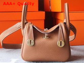 Hermes Mini Lindy Bag in Tan Taurillon Clemence Leather Replica