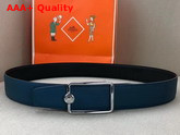 Hermes Oscar Buckle Reversible Leather Strap 38mm in 135 and Togo Calfskin Black and Blue Replica