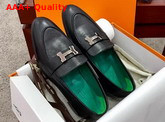 Hermes Paris Loafer in Noir Goatskin with Palladium Plated H Details Replica