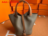Hermes Picotin Lock 18 Bag in Elephant Gray Taurillon Clemence Leather with Tan Leather Handle Replica