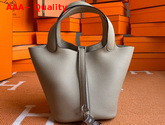Hermes Picotin Lock 18 Bag in Light Gray Taurillon Clemence Leather Replica