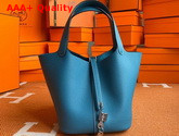 Hermes Picotin Lock 18 Bag in Mid Blue Taurillon Clemence Leather Replica