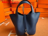 Hermes Picotin Lock 18 Bag in Navy Taurillon Clemence Leather Replica